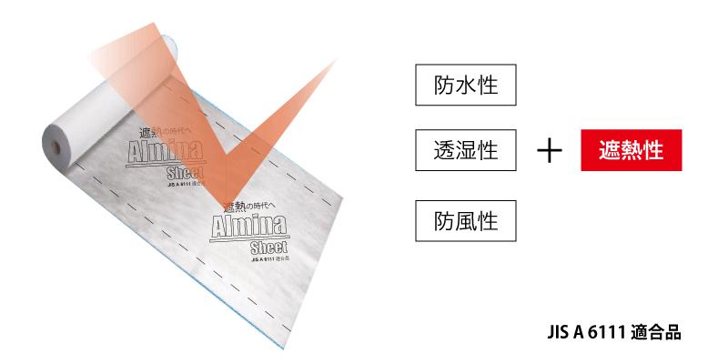 防水性+透湿性+防音性+遮熱性=アルミナシート(Almina Sheet)